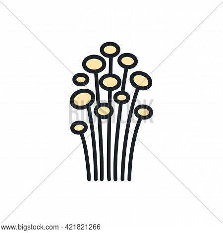 Enoki Mushroom Icon. Vector Isolated Linear Color Icon Contour Shape Outline. Thin Line. Modern Glyp