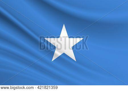 Flag Of Somalia. Fabric Texture Of The Flag Of Somalia.