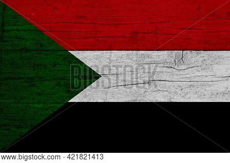 Flag Of Sudan. Wooden Texture Of The Flag Of Sudan.