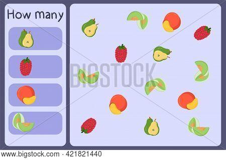Kids Mathematical Mini Game - Count How Many Fruits - Pear, Raspberry, Nectarine, Honeydew Melon. Ed