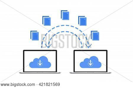 Smartphones File Transfer. Data Transmission, Ftp Files Receiver And Laptop Backup Copy. Document Sh