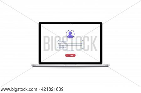 Laptop With Authorization On The Screen, Login And Password Of The User To The System Or Account, Ve