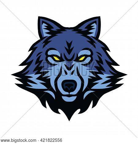 Angry Wolf Head Logo Sports Mascot Design Vector Illustration