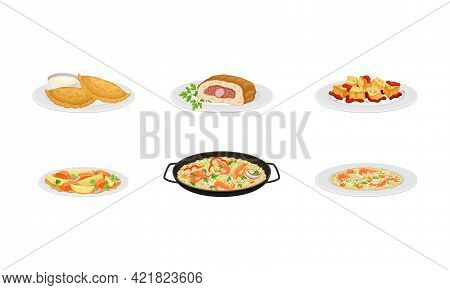 Spanish Cuisine With Rolled Forcemeat And Rice With Seafood Served On Plates Vector Set