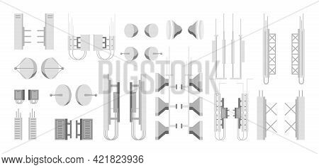 Transmission Cellular Tower Elements Set. Network Broadcast Equipment Collection. Broadcasting, Inte