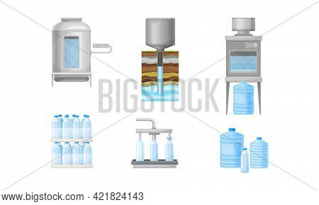Drinking Water Production And Purification With Extraction, Treatment And Bottling Vector Illustrati