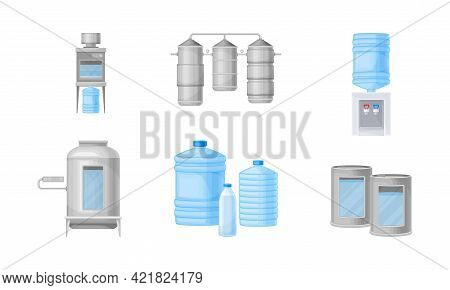 Drinking Water Production And Purification With Treatment And Bottling Vector Illustration Set