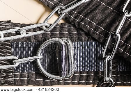 Safety Belt For Working At Height With Locks. Professional Safety Equipment For Mountaineering And C