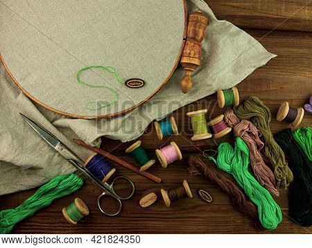Embroidery Needlework Background Linen In Hoop Mockup. Colorful Floss Thread Scissors Card Tag. Hand
