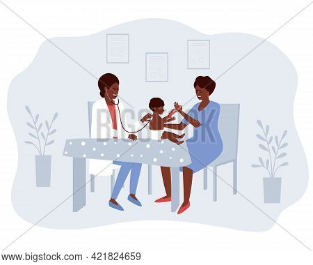 African American Mom And Baby Visit The Doctor. A Pediatrician Listens To Breathing And Heartbeat Wi