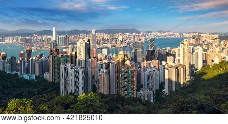 Hong Kong Skyline From Victoria Peak On A Sunny Day