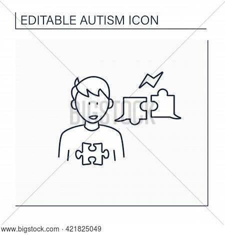 Neurodevelopmental Disorder Line Icon.problems With Two Way Conversation.inability To Balance Dialog
