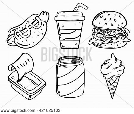 Set Of Lunch Fast Food Or Junk Food With Doodle Or Sketchy Style On White Background. Vector Illustr