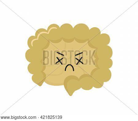 Kawaii Character Of Small And Large Human Intestine. Unhealthy Sick Gut Character. Bowel Diseases -
