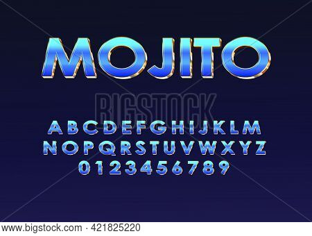 Retro Futuristic 80s Font Style. Vector Alphabet With Chrome Effect Template For Game Title