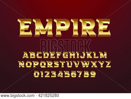 Font With Luxury Vintage Style, Set Of Alphabet And Number. Gold Text Effect For Game Title, Poster