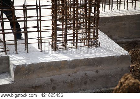 Construction Of A Residential Building Made Of Monolithic Concrete. New Residential Area. Constructi