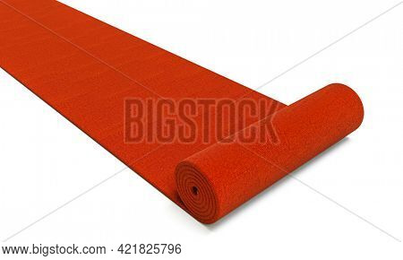 red carpet unrolling on white background.3d render.