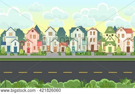 Street. Cartoon Houses With A Road. Asphalt. Village Or Town. Seamless. A Beautiful, Cozy Country Ho