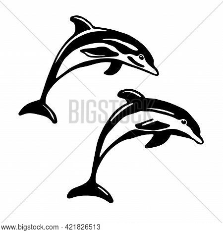 Black And White Vector Illustration Of Dolphin Jumping. Monochrome Two Dolphins Isolated On White Ba