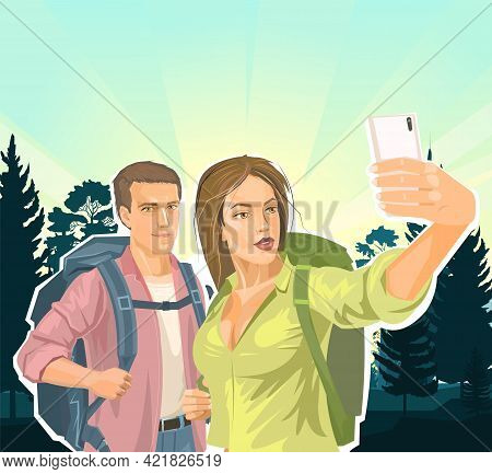 A Beautiful Girl Tourist With A Backpack Makes A Selfie With Her Boyfriend. Against The Background O
