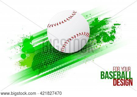 Abstract Background With Stripes, Grungy Texture And Baseball Ball. Template For Your Sport Design.