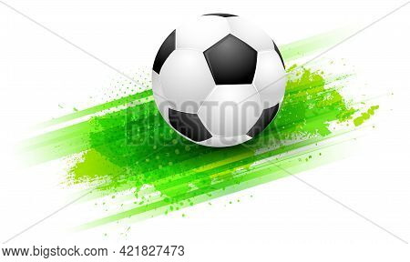 Abstract Green Background With Stripes, Grungy Texture And Football Soccer Ball. Template For Your S