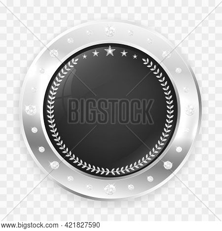Circle Silver Badge Frame With Diamonds, Shadow And Copy Space On Transparent Background. Vector Ill