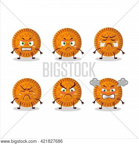 Orange Biscuit Cartoon Character With Various Angry Expressions