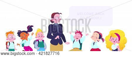 Portrait Of Teacher, Boys And Girls Pupils Characters Isolated On White Background. Back To School C