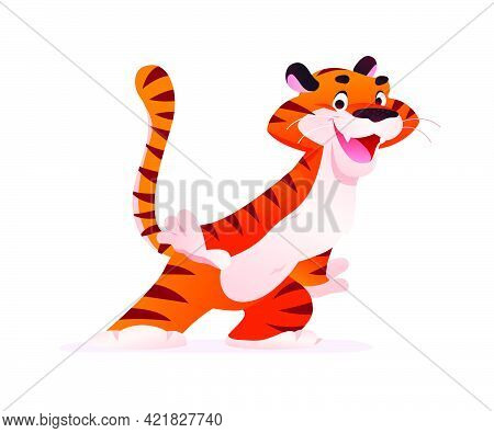 Portrait Of Funny Tiger Character Isolated On White Background. Flat Cartoon Style. For Company Masc