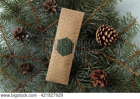 Scented Sachet, Pine Cones And Fir Branches On Grey Background, Flat Lay