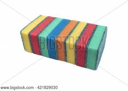 Surface Of Plastic Multicolored Sponge Isolated On White Background. Close-up Texture. Scrub Sponge.