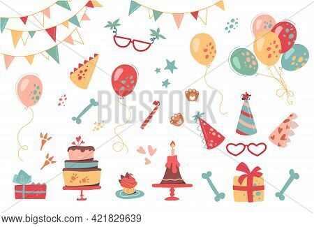 Festive Set For Birthday. Vector Collection Of Hats, Gifts, Buntings, Cakes, Cupcakes, Glasses And B