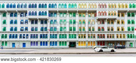 SINGAPORE - CIRCA JANUARY 2016: Panoramic view of Old Hill Street Police Station which now houses the Ministry of Communications and Information (MCI) and Ministry of Culture, Community and Youth.