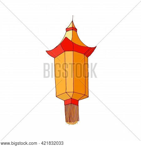 Street Paper Lantern With Fringe. Chinese Hanging Lamp With Candle Inside. Asian Festival Religious