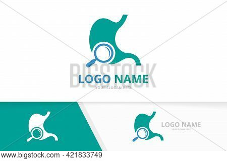Vector Stomach And Loupe Logo Combination. Gastrointestinal Tract And Magnifying Glass Logotype Desi