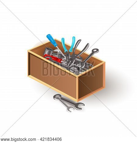 Cartoon Equipment To Repair House Furniture, Fix Auto Vehicle, Carpentry Works. Vector Wrench, Screw