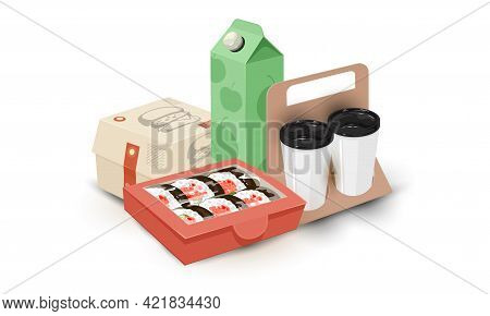 Cartoon Of Juice Package, Cups With Coffee, Burger And Asian Sushi. Vector Fast Food Eating, Unhealt