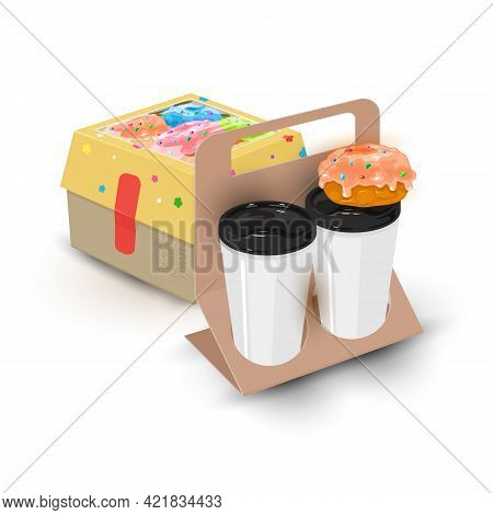 Cartoon Of Delicious Doughnut With Glaze, Hot Arabica Coffee. Vector Package Of Food To Go, Cafe Tak