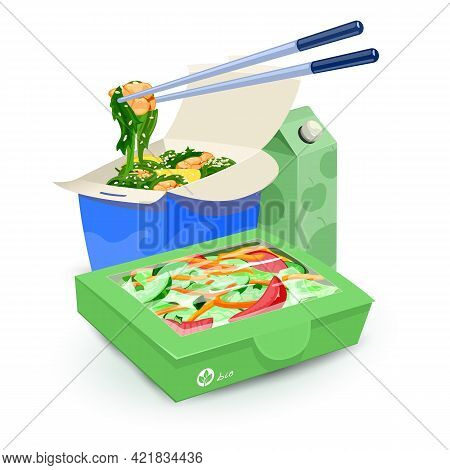 Cartoon Of Seaweed With Seafood Under Sesame And Lemon Slices And Fresh Green Salad. Vector Healthy