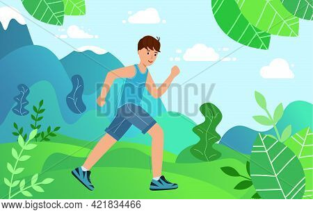 Young Man Is Engaged In Sports Jogging In The Park. Concept Healthy Active Lifestyle.