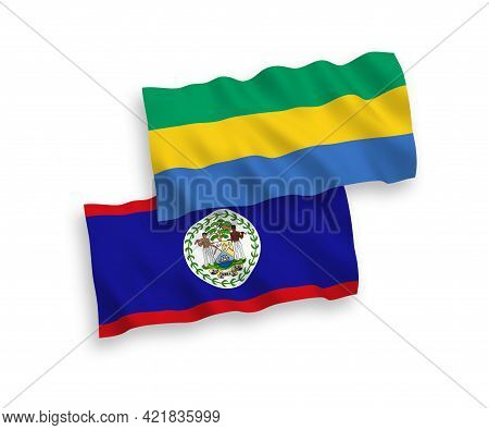 National Fabric Wave Flags Of Belize And Gabon Isolated On White Background. 1 To 2 Proportion.