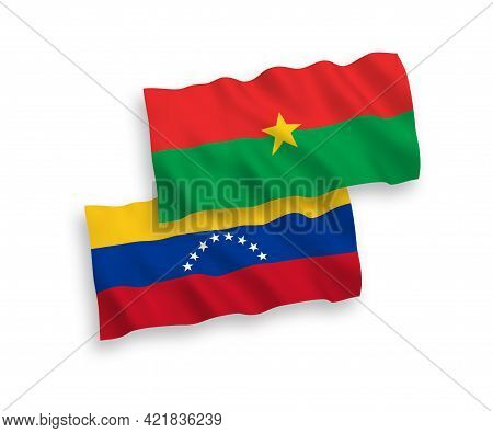 National Fabric Wave Flags Of Venezuela And Burkina Faso Isolated On White Background. 1 To 2 Propor