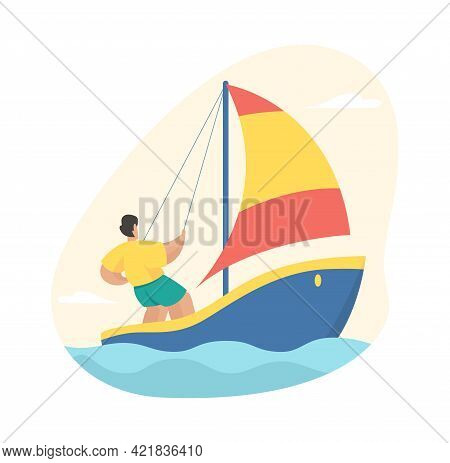 Man Is Sailing. Active Yachting With Adrenaline Racing Water. Male Character Yacht Straightens Sail