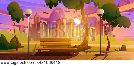 City Park With Bench Sunset Cityscape Summer Or Spring Scenery Landscape, Empty Public Place For Wal