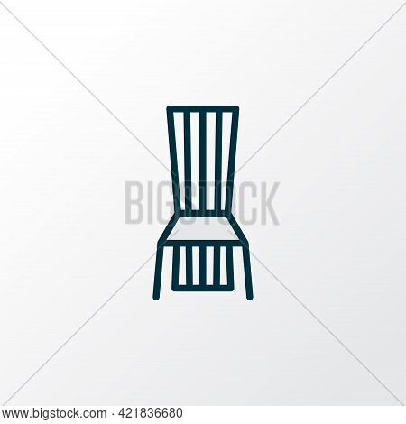 Dining Chair Icon Colored Line Symbol. Premium Quality Isolated Seat Element In Trendy Style.