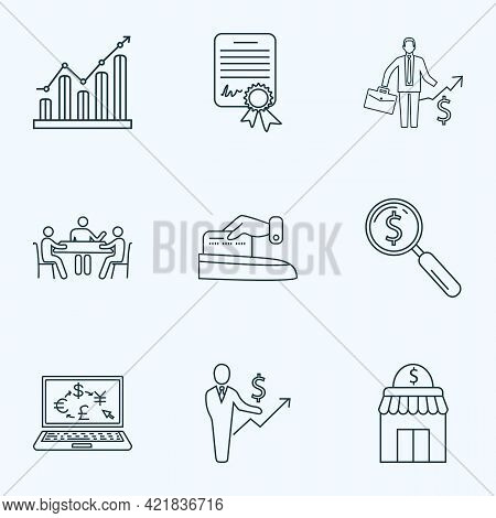 Commerce Icons Line Style Set With Search Money, Graph, Make Payment And Other Storefront Elements.
