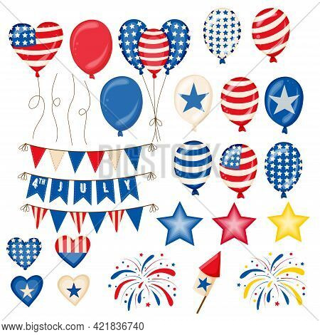 Fourth Of July Independence Day Symbols Set. American Patriotic Illustration Of Balloons, Flags, Sta