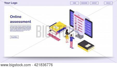Online Assessment Webpage Vector Template With Isometric Illustration. Students Completing Exam, Kno